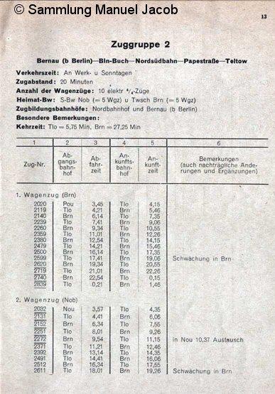 Bild: Fahrplan Zuggruppe 2
