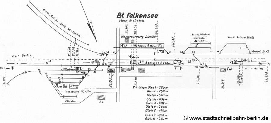 Bild: Gleisplan Falkensee von 1967
