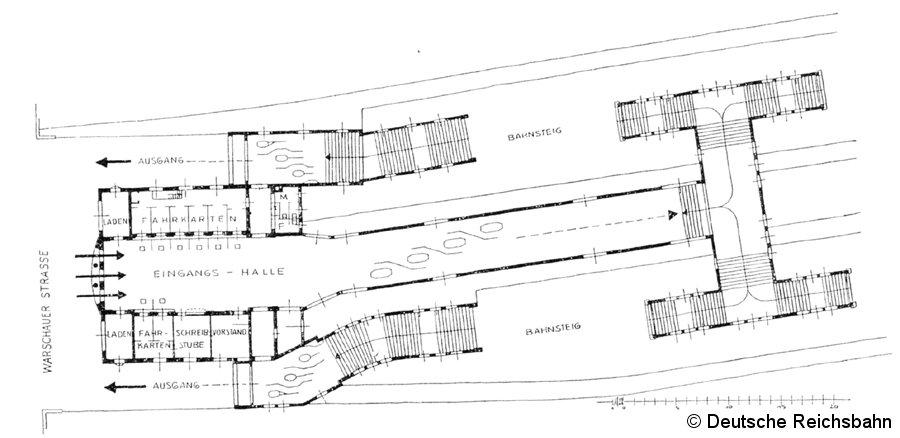 Bild: Querschnitt durch das Empfangsgebäude