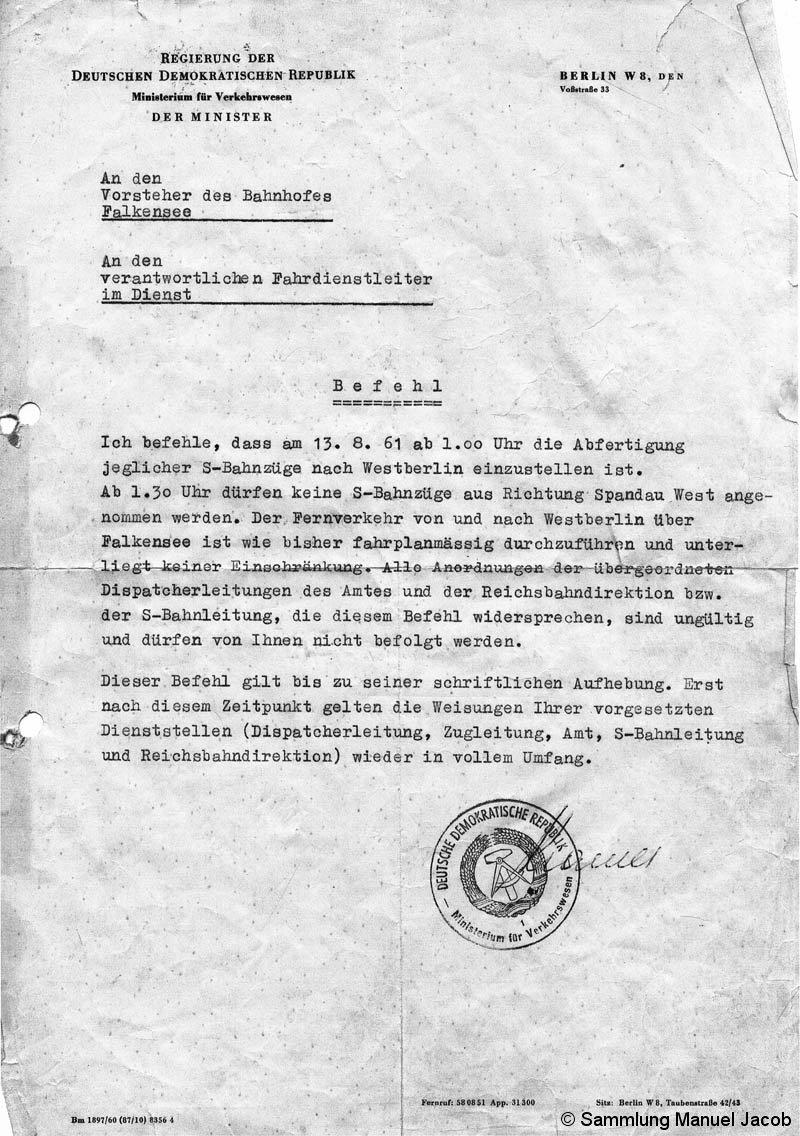 Bild: Befehl des VM der DDR an den Bf Falkensee