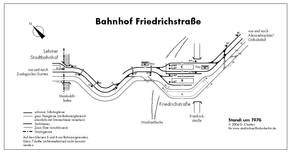 Bild: Gleisplan Friedrichstraße um 1976