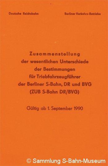 Bild: Deckblatt der ZUB S-Bahn DR - BVG