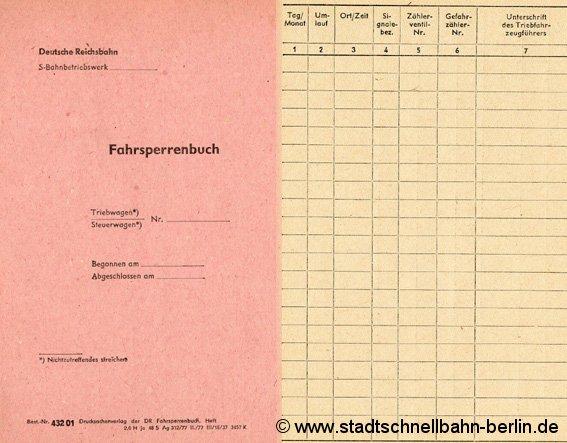Deckblatt und Unterseite eines Fahrsperrenbuches - Stand: 1977 (Bildmontage)