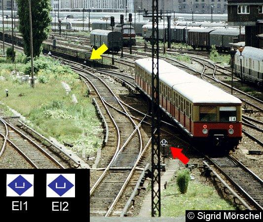 Eine Trennstelle zwischen Bln-Ostbahnhof und Warschauer Straße: der rote Pfeil zeigt auf das Signal El1, der gelbe Pfeil auf das Einschaltzeichen El2.