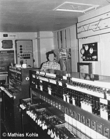 Bild: Stellwerksinnenansicht in den 1980er Jahren